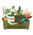businessman sleeps on couch tired man taking nap vector image vector image