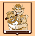 cartoon farmer with a cow and a pig in a frame vector image