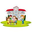 children having lunch at school vector image