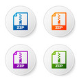 color zip file document icon download zip button vector image vector image