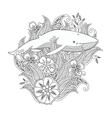 Coloring page with whale in flowers and leafs vector image vector image