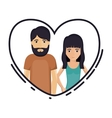Couple cartoon inside heart design vector image vector image