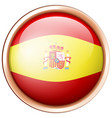 flag of spain on round badge vector image vector image