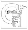 Giraffe letter G coloring page vector image vector image