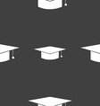 Graduation cap icon sign Seamless pattern on a vector image