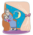 grandmother hugs her granddaughter - hand drawn vector image vector image