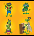 green alien musicians band with banjo piano and dr vector image