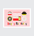 greeting card with birthday cake with candles vector image