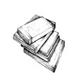 hand drawn stack of books on white background vector image
