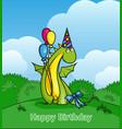 happy birthday cute cartoon dragon wearing party vector image vector image