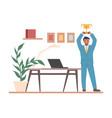 happy employee winner best office worker holding vector image vector image