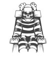 human skeleton wear in prison suit on electric vector image vector image