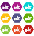 i love you hand sign icon set color hexahedron vector image