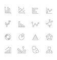 icons of charts and diagrams mono line pictures vector image
