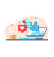 internet communication with likes and comments vector image vector image