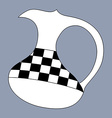 Jug silhouette decorated with checkered pattern vector image