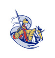 Knight With Flag Shield Horse Retro vector image vector image