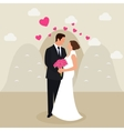 man woman couple married see eyes wedding dress vector image vector image