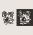 monochrome craft beer label vector image