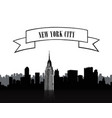 nyc sign urban city skyline silhouette travel usa vector image vector image