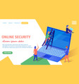 online security banner tiny people at huge laptop vector image vector image
