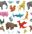 origami paper animals geometric game japanese vector image