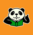 panda character with book and thumb up vector image vector image