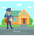 post service web banner courier delivers package vector image vector image