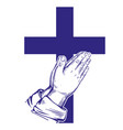 praying hands cross symbol of christianity hand vector image vector image