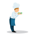 professional chef sniffs his dish vector image vector image