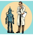 Professor scientist and robot Creator gadget vector image