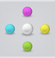 realistic colored spheres isolated on transparent vector image vector image