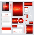 Red set of corporate identity template vector image vector image