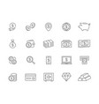 set bank and money line icons coin vector image vector image
