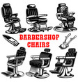 set barber shop chair design element for logo vector image