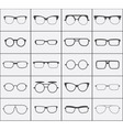 set glasses icons in black over white vector image vector image