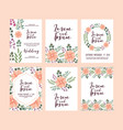 set of card with pink wild flowers leaves wedding vector image