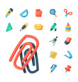 stationery icons office supply tools vector image vector image