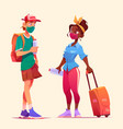 tourists talk man and woman in masks travel vector image vector image