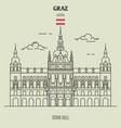 town hall in graz austria vector image vector image