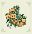 vintage ribbon and botanical and pen engraving vector image