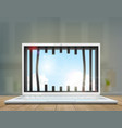 window with prison bars in the laptop screen vector image