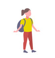 woman student standing with backpack casual girl vector image