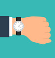 wristwatch on the hand of businessman in suit vector image vector image