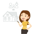 Young woman drawing her family house