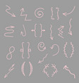 hand drawn arrows lines isolated on gray vector image