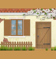 spring old facade window wooden door vector image