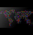 abstract world map of dots on black background vector image vector image