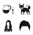 alcohol fox and other web icon in black style vector image vector image