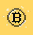 bitcoin symbol pixel art cryptocurrency vector image